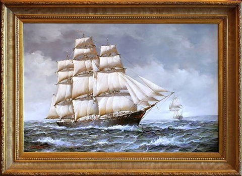 breezing up to shorten sail in choppy seas [sold] by jean laurent